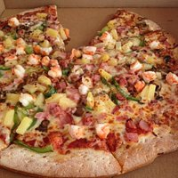 Key West pizza with shrimp, ham, pineapples...among vegetables