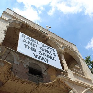 """Museum on the Seam, """"raise boys and girls the same way"""" (Jenny Holzer)"""