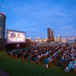 Enjoy stunning views of San Diego sunsets and the city skyline from Rooftop Cinema Club