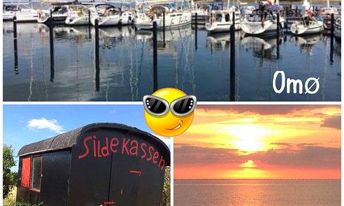 Billede fra havnen. Den søde sildekasse, som er ved badestrand. Den flotteste solnedgang.