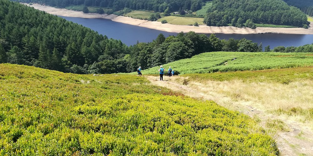 Approaching steep descent to Derwent reservoir
