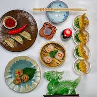 all home made, sui mai, hakao, suikao, and gyoza