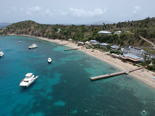 Aerial view of our boat moored at Cooper Island