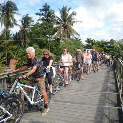 biking around village in bentre