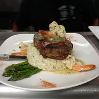 Our newly added special Filet Mignon and Shrimp Scampi over creamy Risotto with fresh Asparagus