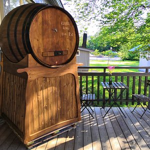 We offer the Spanish pour from the huge barrel, fun to watch and try!