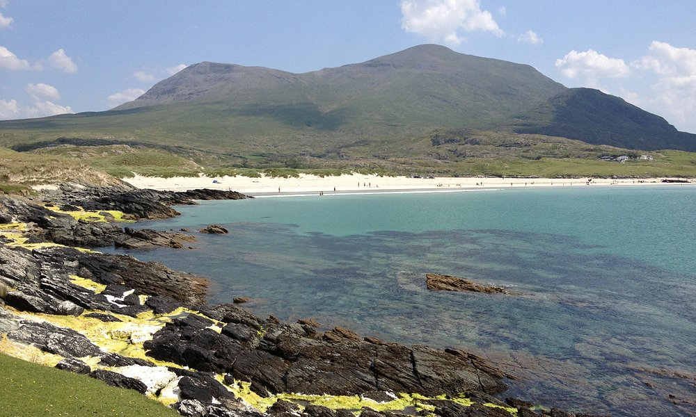 Silver Strand, with Mweelrea mountain in the background.