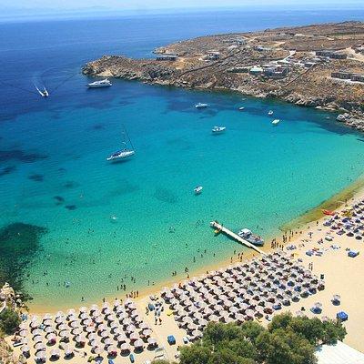 The most famous beach of Mykonos, Super Paradise