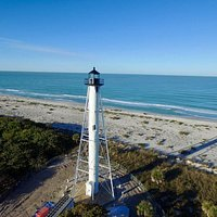 Aerial view of Gasparilla Island Lighthouse during restoration.