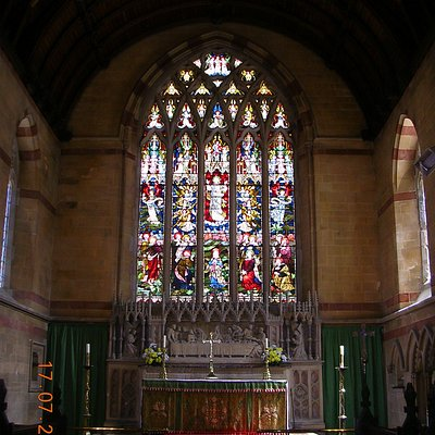 Stained glass window inside St. Michael's Church (Aberystwyth)