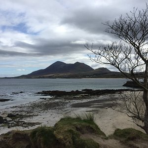 View of Croagh Patrick, from beach to left of Old Head Pier.
