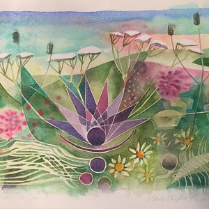 Summer Spa by artist Clare Shepherd. Comissioned art work.
