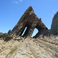 This is Black Church Rock, Hartland. Brownshaw farm tearooms is back at the top of the hill.