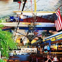 large ceiling fixtures prove the spacious layout of pete's place