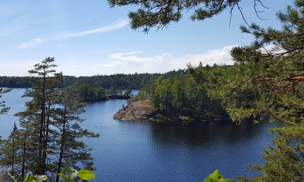 View of the lake from the Fornborgsslingan trail