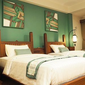 each room has difference color and decoration