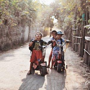 Local kids on bikes.