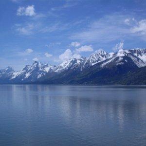 mountains towering out of Lake Jackson