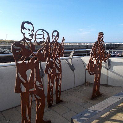 Local heroes Don Spendlove, Sir John Houghton and Mike Peters at Rhyl Harbour
