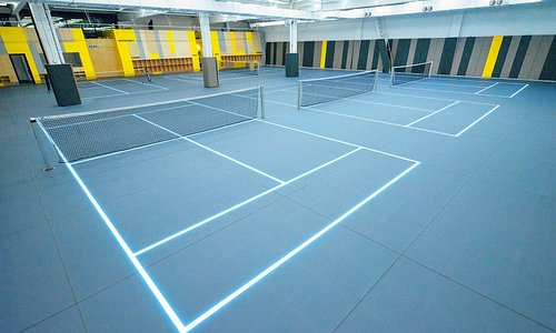 first tennis facility to feature customized LED courts on the most advanced floor