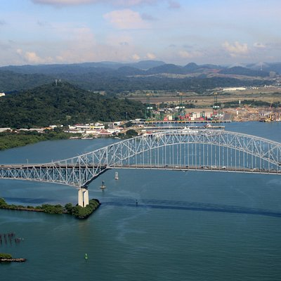 I took aerial shots of Bridge of the Americas shortly after take off from Bocas del Toro airport