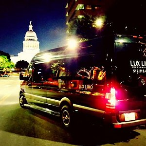 Our Mercedes Sprinter Limo in downtown Austin Tx!