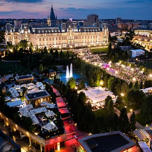 Palas Ensemble at night (view from International Hotel)