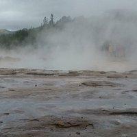 Beginning of geothermal area