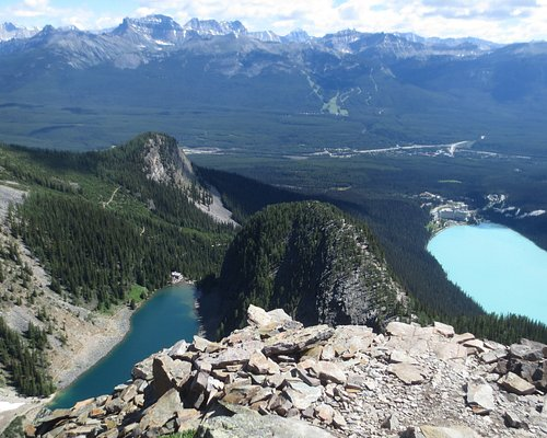 The Beehives (and Lake Agnes, and Lake Louise) from Devil's Thumb