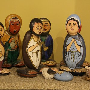 Riverstones handpainted and attached together to form a unique Nativity Scene.