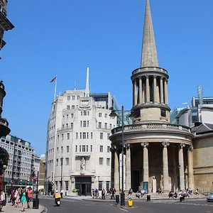 Looking up to All Souls church from Regent Street