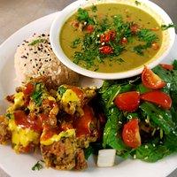 Thai box... Thai green curry, Fluffy rice, green salad and crispy pakoras with satay and chilli