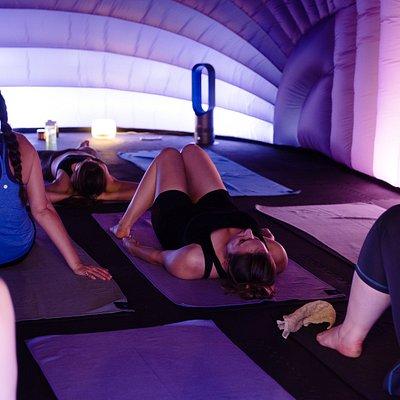Hotpod yoga helps build strength and flexibility through the body.