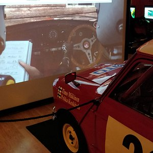 playing the game from inside the mini cooper