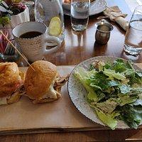 Bbq chicken sliders and caesar salad