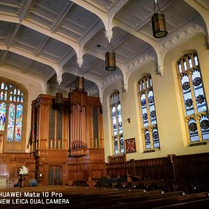 Organ and windows with medallions.