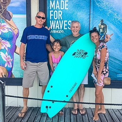 The Perry family with Lynn Shell and Shelby's birthday board, a new Wave Bandit!