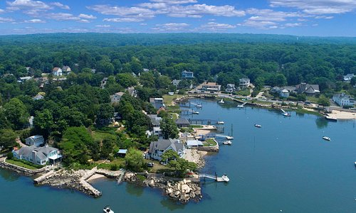 Aerial photo from B&B on lower left to the Village of Stony Creek and public Beach on right
