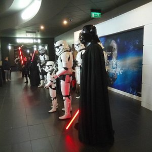 in the foyer for a Star Wars film