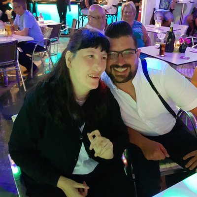 Kerri with Scott McCue in The Venue, Costa Teguise