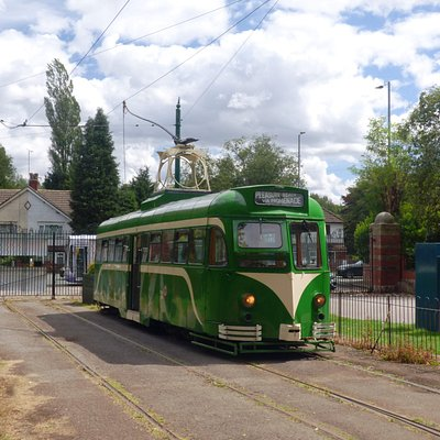 Ex-Blackpool Railcar at the original terminus of the Heaton Park tramway