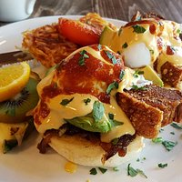 Pork belly benny with avocado