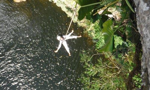 Rappel on Misol-Ha Waterfall