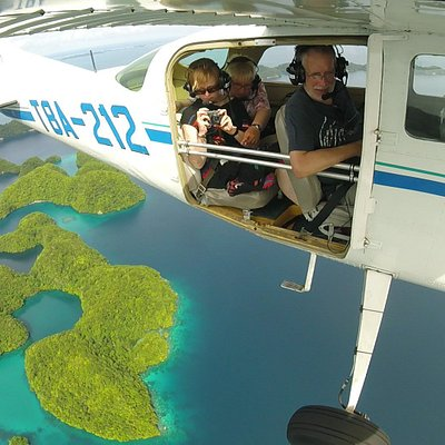 Aerial tour over Rock Islands with TWO DOORS OFF!!