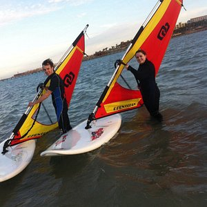 Having fun with our Windsurfing instructors and enjoying our beautiful spot