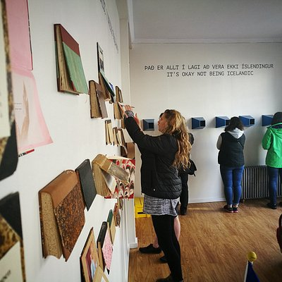 """Two of the museum's exhibitions: """"Various things happen"""" and """"It's okay not being Icelandic""""."""