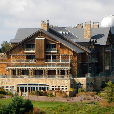 A view of the rear of the main resort with the observatory on the right side.