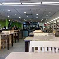 interior of Mississauga Valley Library facing doors