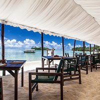 Beach side dining in paradise
