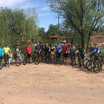 Our group on the River Trail with rented bikes from Mellow Velo